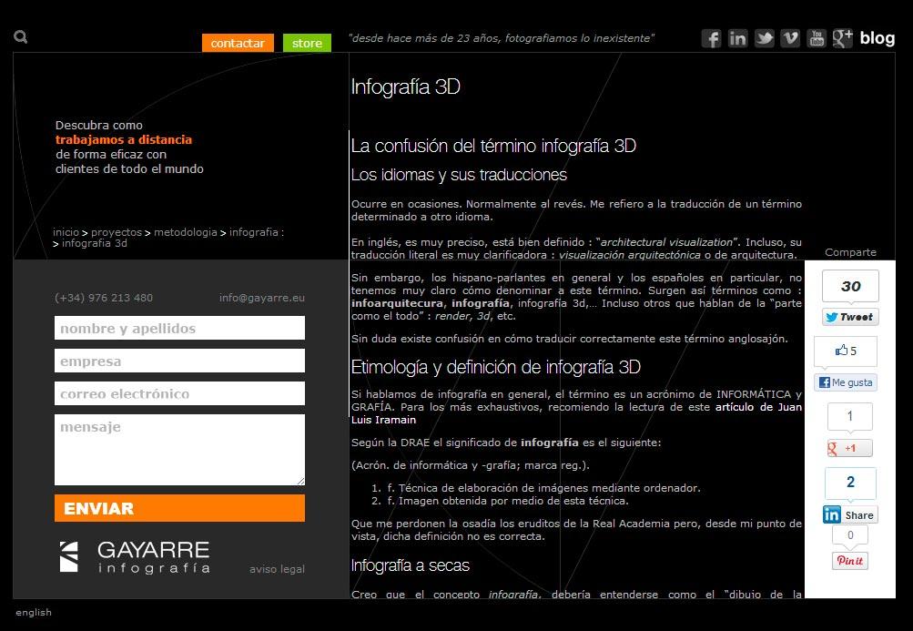 Imagen del proyecto: Actualización página Web Gayarre Infografía