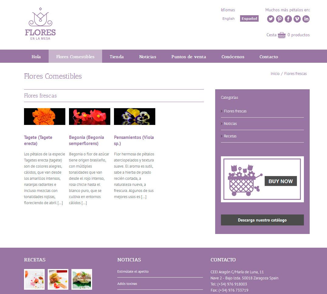 Imagen del proyecto: Comercio online Web para Flores en la Mesa