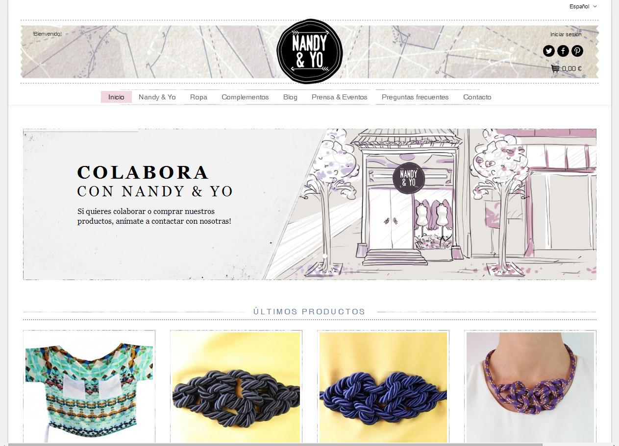 Imagen del proyecto: Comercio online Nandy & Yo