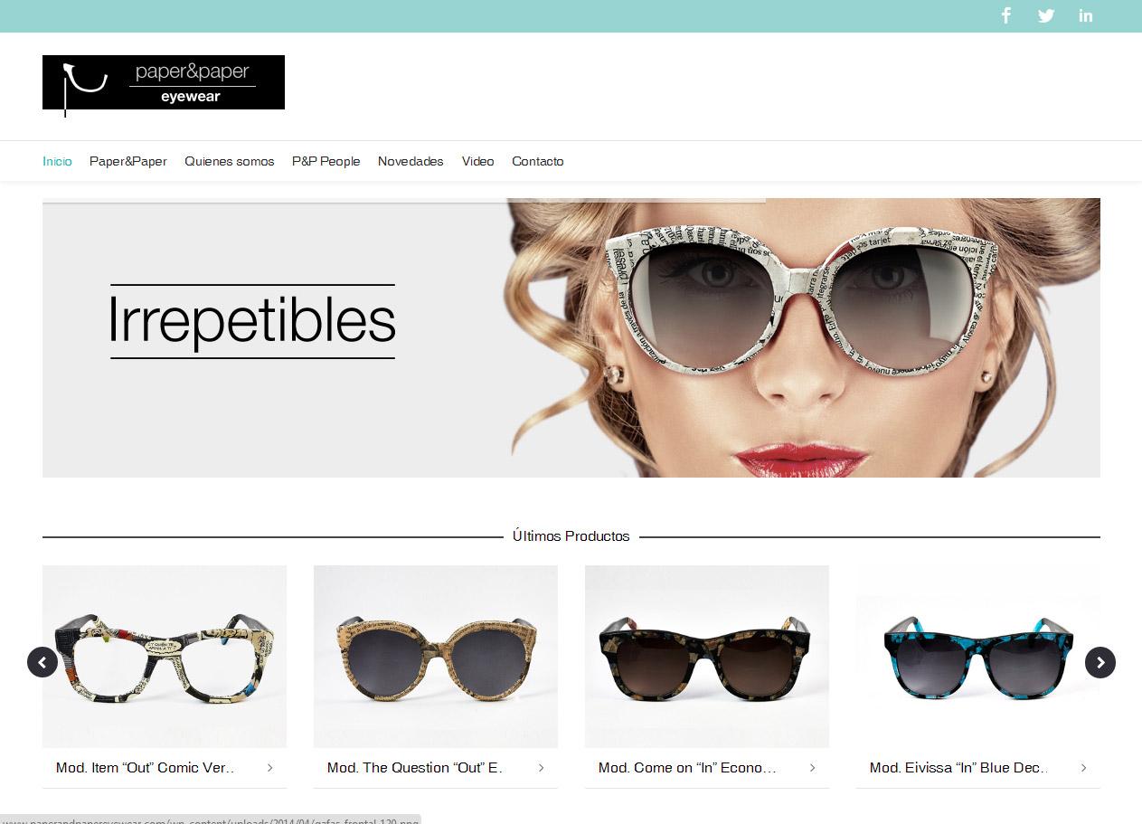 Imagen del proyecto: Comercio online para Paper&Paper Eyewear