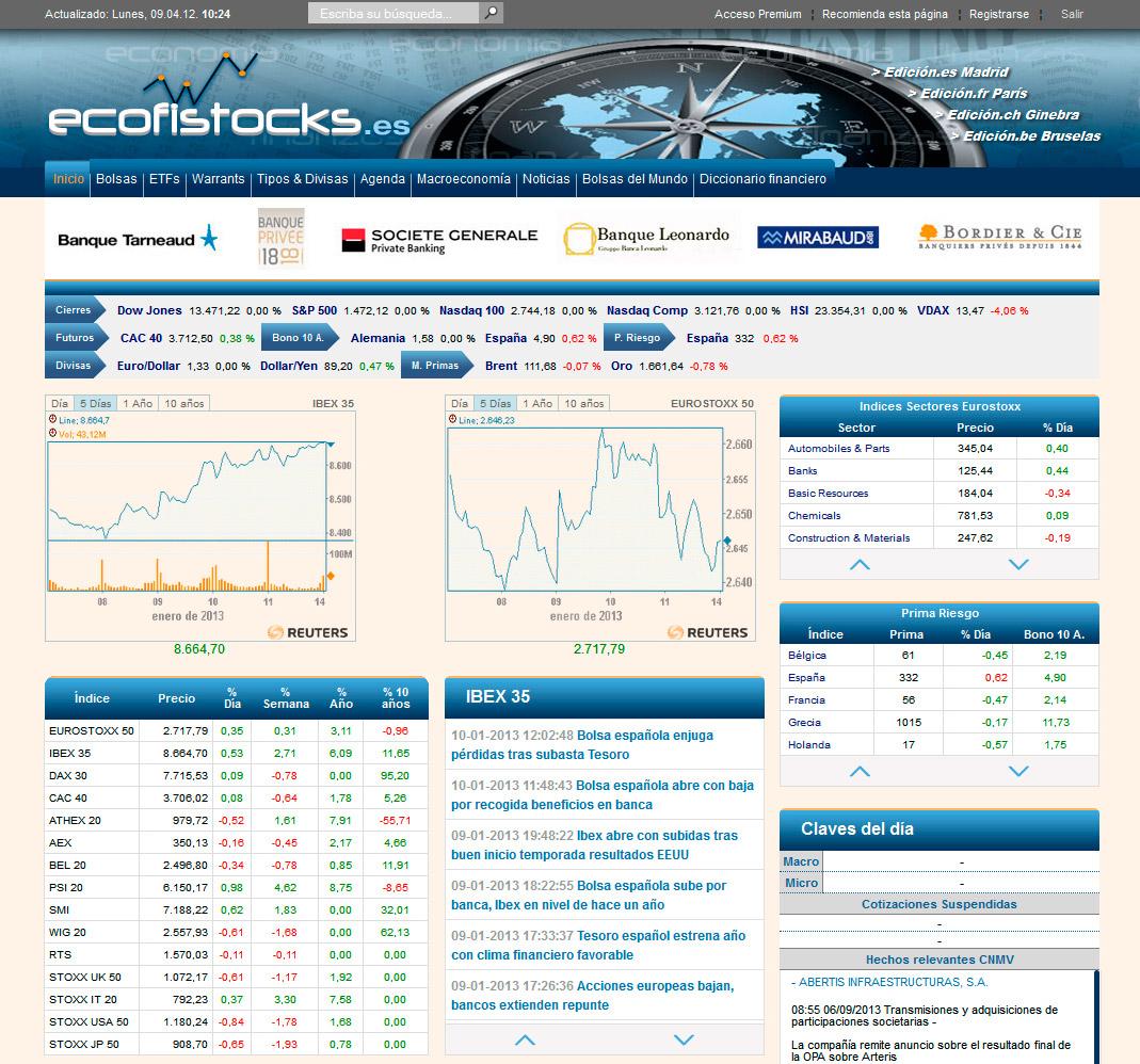 Imagen del proyecto: Portal Web de información bursátil