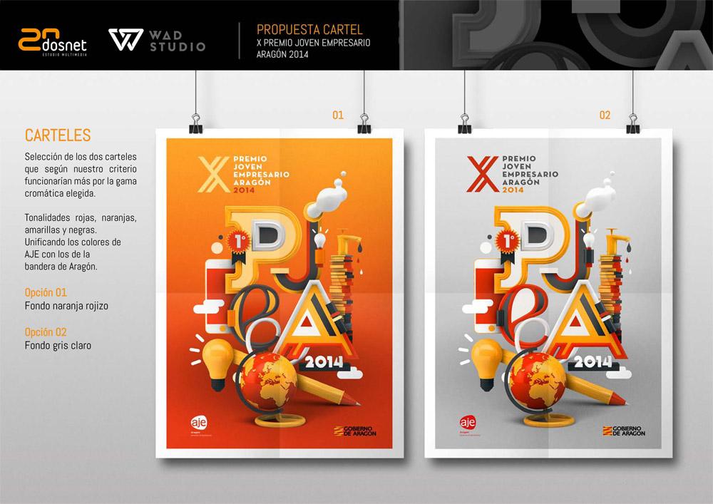 Imagen del proyecto: Ganadores junton con WAD Studio del concurso propuesto por AJE para la imagen de X PREMIO JOVEN EMPRESARIO DE ARAGÓN